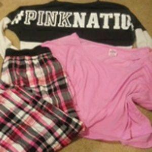 Victoria's Secret pink pajama bundle